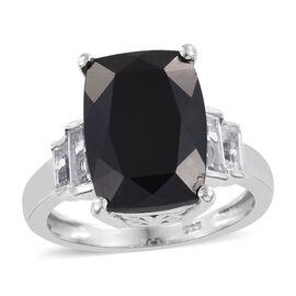 Boi Ploi Black Spinel (Cush 8.75 Ct), White Topaz Ring in Platinum Overlay Sterling Silver 10.000 Ct.