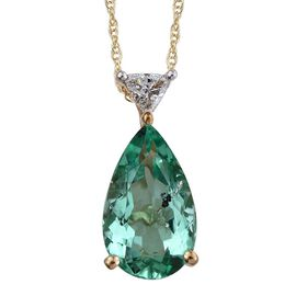 ILIANA 18K Y Gold Boyaca Colombian Emerald (Pear 3.30 Ct), Diamond Pendant With Chain 3.400 Ct.
