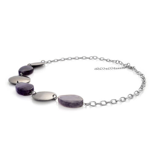 Amethyst Necklace (Size 18) in Stainless Steel 30.000 Ct.