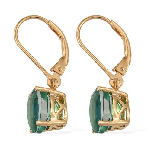 Peacock Quartz (Ovl) Lever Back Earrings in 14K Gold Overlay Sterling Silver 4.250 Ct.