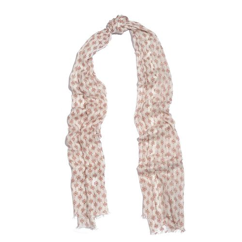 Maroon and Cream Colour Ikat Pattern Scarf (Size 180x70 Cm)