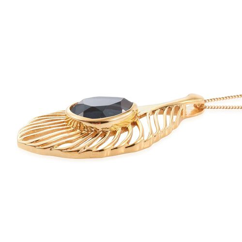 Indicolite Quartz (Pear) Peacock Feather Pendant With Chain in 14K Gold Overlay Sterling Silver 6.250 Ct.