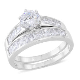 ELANZA AAA Simulated White Diamond (Rnd) 2 Ring Set in Rhodium Plated Sterling Silver 4.000 Ct.