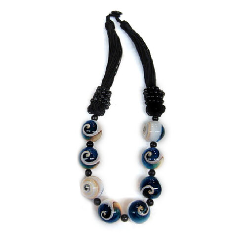 Blue Resin Shell and Turquoise Necklace (Size 18) 280.000 Ct.