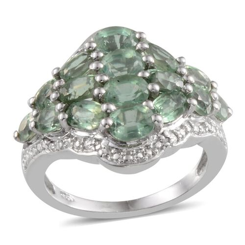 Orissa Green Kyanite (Ovl), Diamond Cluster Ring in Platinum Overlay Sterling Silver 5.000 Ct.