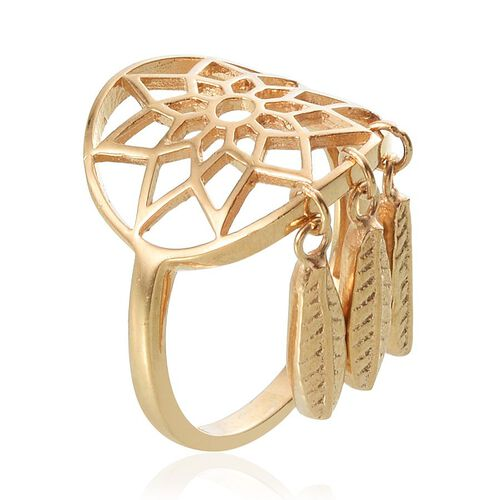 14K Gold Overlay Sterling Silver Dreamcatcher Ring, Silver wt 4.12 Gms.