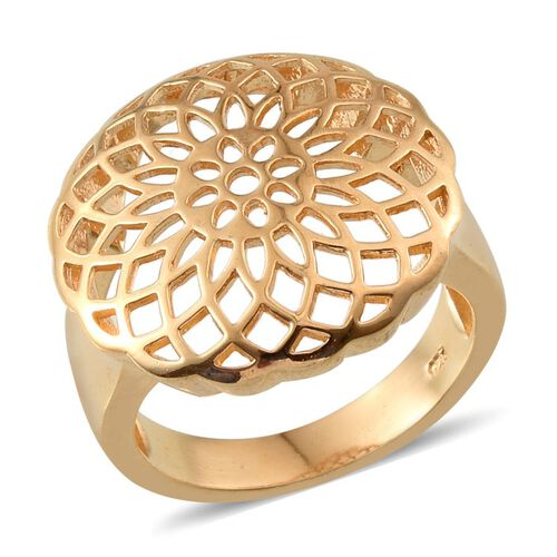 14K Gold Overlay Sterling Silver Dreamcatcher Ring, Silver wt 6.21 Gms.