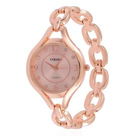 STRADA Japanese Movement White Austrian Crystal Studded Dial Water Resistant Watch in Rose Gold Tone with Stainless Steel Back and Chain Strap