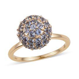 9K Yellow Gold 3.00 Carat AA Ceylon Blue Sapphire Ball Ring