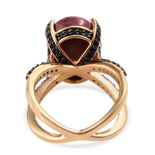 Norwegian Thulite (Ovl 14.00 Ct), Boi Ploi Black Spinel Ring in 14K Gold Overlay Sterling Silver 15.250 Ct.