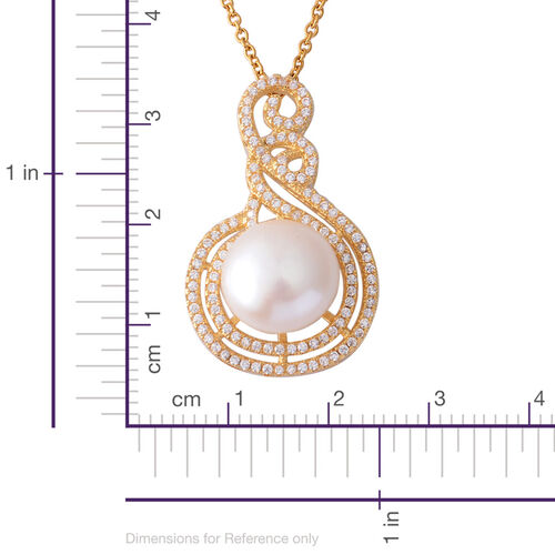 Fresh Water White Pearl and Simulated White Diamond Pendant With Chain (Size 18) in Gold Tone With Stainless Steel