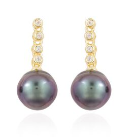 Tahitian Pearl (9-10mm), White Topaz Earrings (with Push Back) in Yellow Gold Overlay Sterling Silver