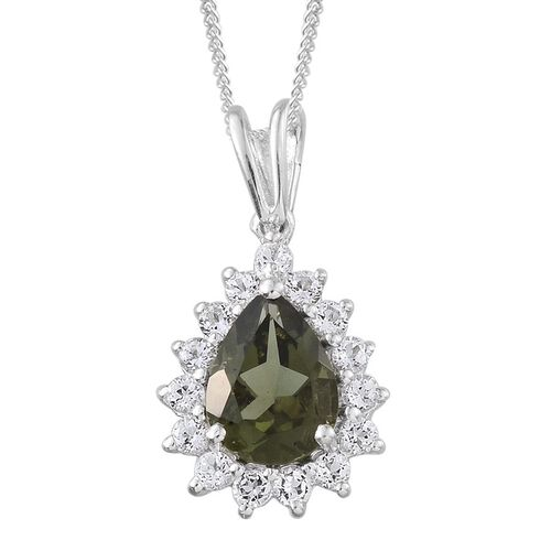 Bohemian Moldavite (Pear 0.75 Ct), White Topaz Pendant With Chain in Platinum Overlay Sterling Silver 1.250 Ct.