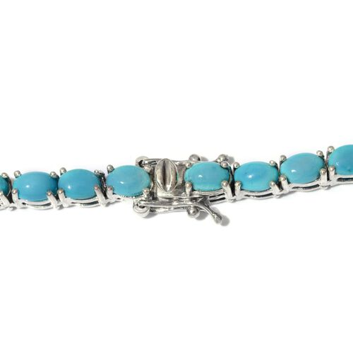 Arizona Sleeping Beauty Turquoise (Ovl) Necklace (Size 18) in Platinum Overlay Sterling Silver 35.000 Ct.