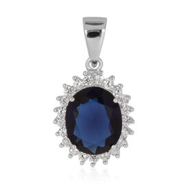 ELANZA AAA Simulated Blue Sapphire (Ovl), Simulated Diamond Pendant in Rhodium Plated Sterling Silver