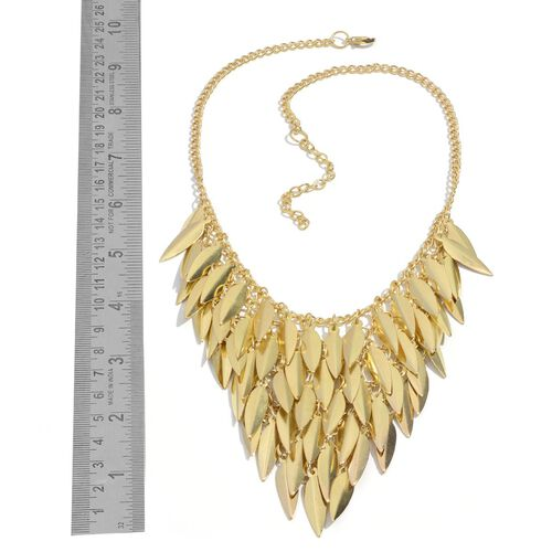 Leaves Dangle Necklace (Size 18 with 2 inch Extender) with Lobster Lock in Gold Tone