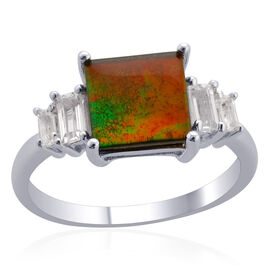 Tucson Collection Canadian Ammolite (Sqr 2.00 Ct), White Topaz Ring in Platinum Overlay Sterling Silver 2.400 Ct.