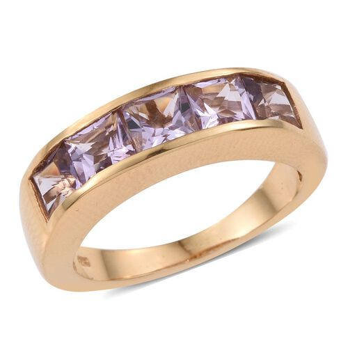 Rose De France Amethyst (Sqr) 5 Stone Ring in 14K Gold Overlay Sterling Silver 3.000 Ct.
