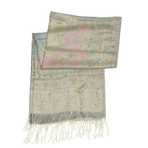 SILK MARK - 100% Superfine Silk Lime Green Colour Floral and Leaves Pattern Multi Colour Jacquard Jamawar Shawl with Fringes (Size 180x70 Cm) (Weight 125-140 Grams)