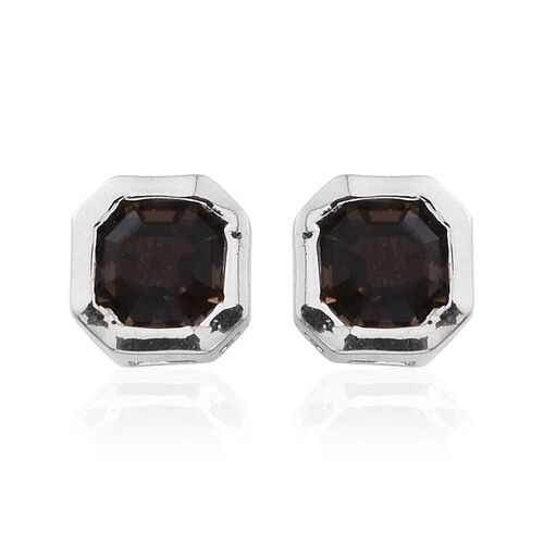 Brazilian Smoky Quartz (Oct) Stud Earrings (with Push Back) in Platinum Overlay Sterling Silver 1.250 Ct.