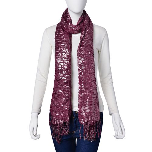 Water Wave Shape Dark Purple Colour Scarf with Tassels (Size 170x65 Cm)