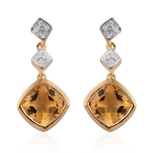 Citrine (Cush), White Topaz Earrings (with Push Back) in 14K Gold Overlay Sterling Silver 4.000 Ct.