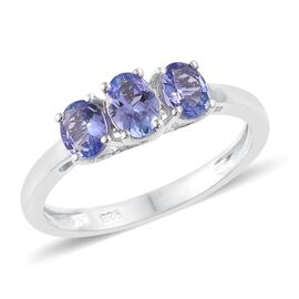 Tanzanite (Ovl) 3 Stone Ring in Platinum Overlay Sterling Silver 1.000 Ct.