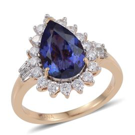 ILIANA 18K Yellow Gold 4.50 Carat AAA Tanzanite Pear, Diamond SI G-H Ring.
