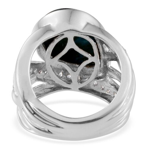 Table Mountain Shadowkite (Pear 9.25 Ct), White Topaz Ring in Platinum Overlay Sterling Silver 9.750 Ct.