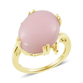 Peruvian Pink Opal (Ovl) Solitaire Ring in Platinum Overlay Sterling Silver 15.000 Ct.