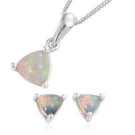 Ethiopian Welo Opal (Trl) Pendant With Chain and Stud Earrings (with Push Back) in Platinum Overlay Sterling Silver 1.250 Ct.