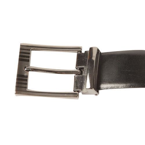 Genuine Leather Black Colour Mens Belt with Silver Tone Buckle (Size 40-44 Inch)