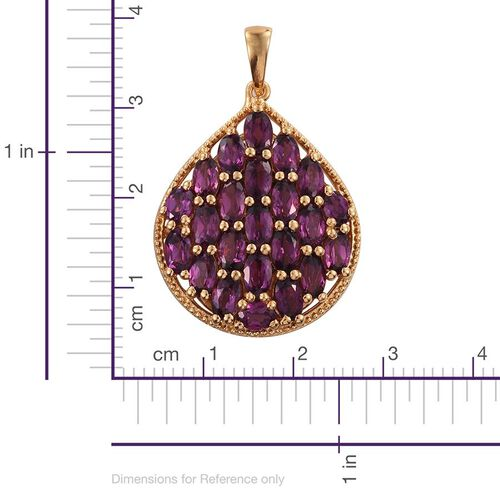 Rare Mozambique Grape Colour Garnet (Ovl) Cluster Pendant in 14K Gold Overlay Sterling Silver 6.500 Ct.