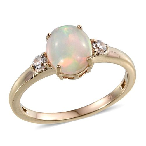 9K Y Gold Ethiopian Welo Opal (Ovl), Natural Cambodian Zircon Ring  1.500 Ct.