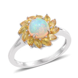 Ethiopian Welo Opal (Rnd 0.80 Ct), Yellow Sapphire Ring in Platinum Overlay Sterling Silver 2.250 Ct.