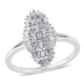 Diamond (Bgt) Cluster Ring in Platinum Overlay Sterling Silver 0.500 Ct.