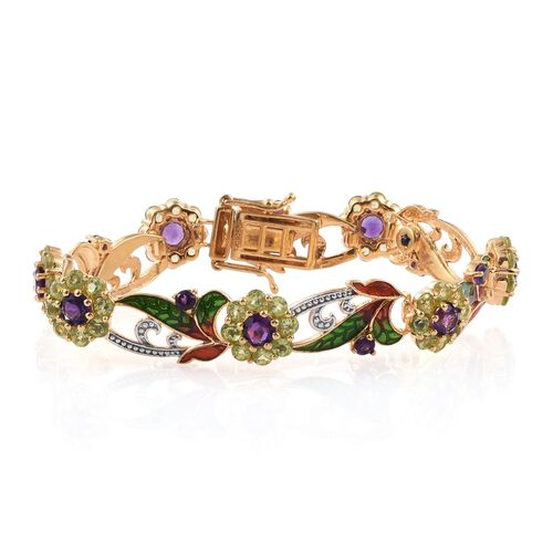GP Amethyst (Rnd), Hebei Peridot and Kanchanaburi Blue Sapphire Leaves and Floral Bracelet (Size 7.5) in 14K Gold Overlay Sterling Silver 11.250 Ct.
