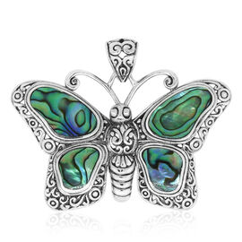 Royal Bali Collection Abalone Shell Butterfly Pendant in Sterling Silver