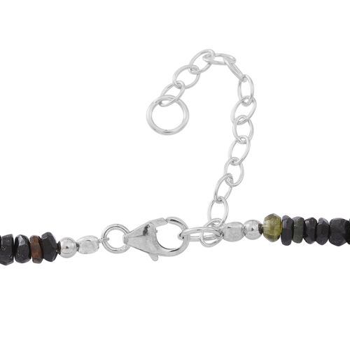 Multi-Tourmaline Beads Necklace (Size 18 with 2 inch Extender) in Rhodium Plated Sterling Silver 35.000 Ct.