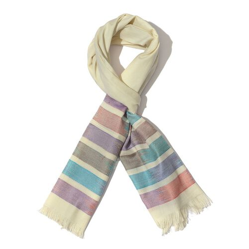 50% Modal 50% Cotton Multi Colour Stripy Pattern White Colour Scarf (Size 175x65 Cm)