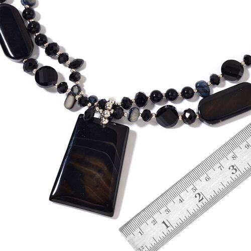 Black Agate, Simulated Black Diamond and Black Shell Dual Strand Beads Necklace (Size 29) in Silver Tone 750.00 Ct.