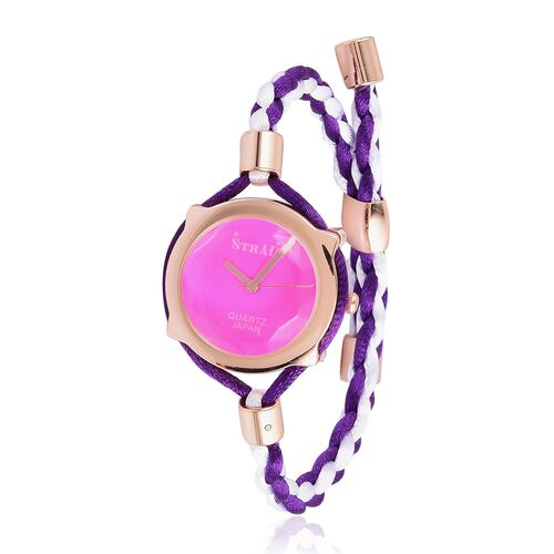 STRADA Japanese Movement Purple Dial Water Resistant Adjustable Bracelet Watch in Rose Gold Tone with Stainless Steel Back and Lace Strap