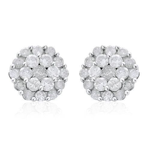 9K White Gold 1 Carat SGL Certified Diamond (I3/G-H) Floral Stud Earrings with Push Back.