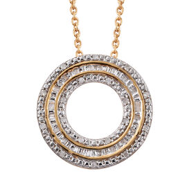 Diamond (Bgt) Circle of Life Pendant with Chain in 14K Gold Overlay Sterling Silver 0.250 Ct.