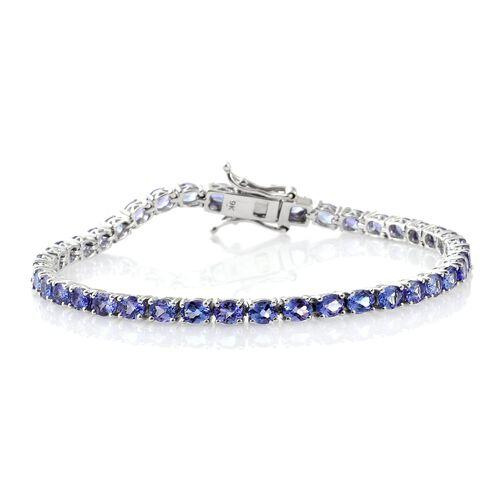 9K White Gold 7.50 Ct. AA Tanzanite Tennis Bracelet (Size 7)