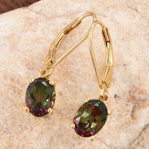 Bi-Color Tourmaline Quartz (Ovl) Lever Back Earrings in 14K Gold Overlay Sterling Silver 3.000 Ct.
