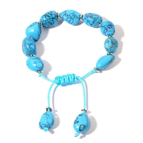Blue Howlite Adjustable Bracelet (Size 7.5) in Silver Tone 150.000 Ct.
