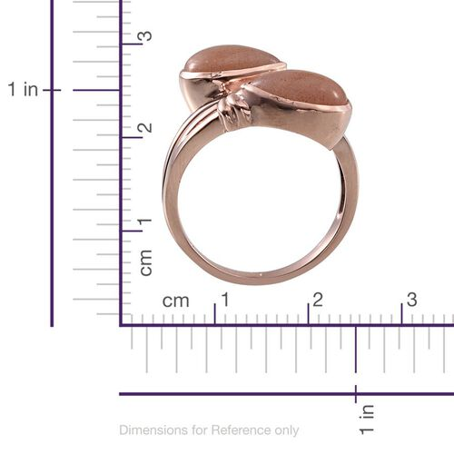 Morogoro Peach Sunstone (Pear) Ring in Rose Gold Overlay Sterling Silver 5.500 Ct.