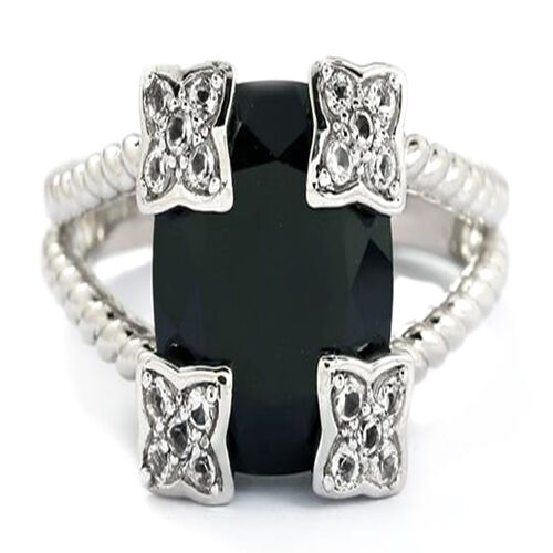 Boi Ploi Black Spinel (Cush 8.50 Ct), White Topaz Ring in Rhodium Plated Sterling Silver 8.540 Ct.