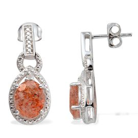 Tanzanian Sun Stone (Ovl), Diamond Earrings (with Push Back) in Platinum Overlay Sterling Silver 3.010 Ct.